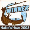 Nanowrimo 2008 winners badge. There's a viking ship.
