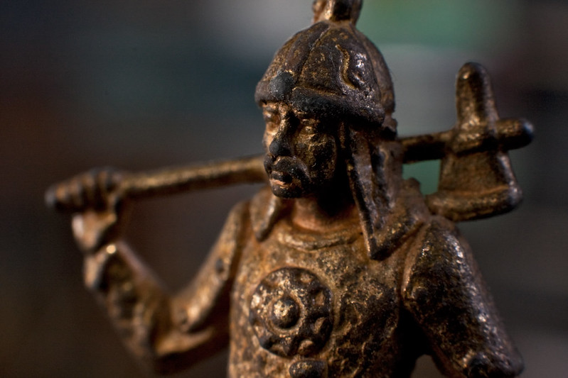 Picture from flickr: 'Upper part of a medieval knight bronze statuette', used under a CC licence. Link goes to flickr page.
